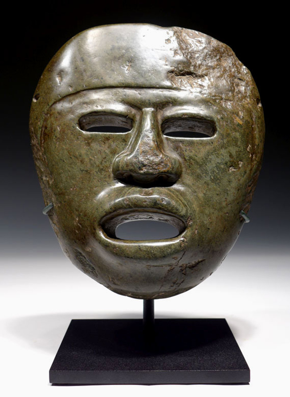 MUSEUM-CLASS UNUSUALLY LARGE PRE-COLUMBIAN SERPENTINE STONE MASK OF LIFE-SIZE PROPORTIONS INTACT FROM MESOAMERICA *PC089