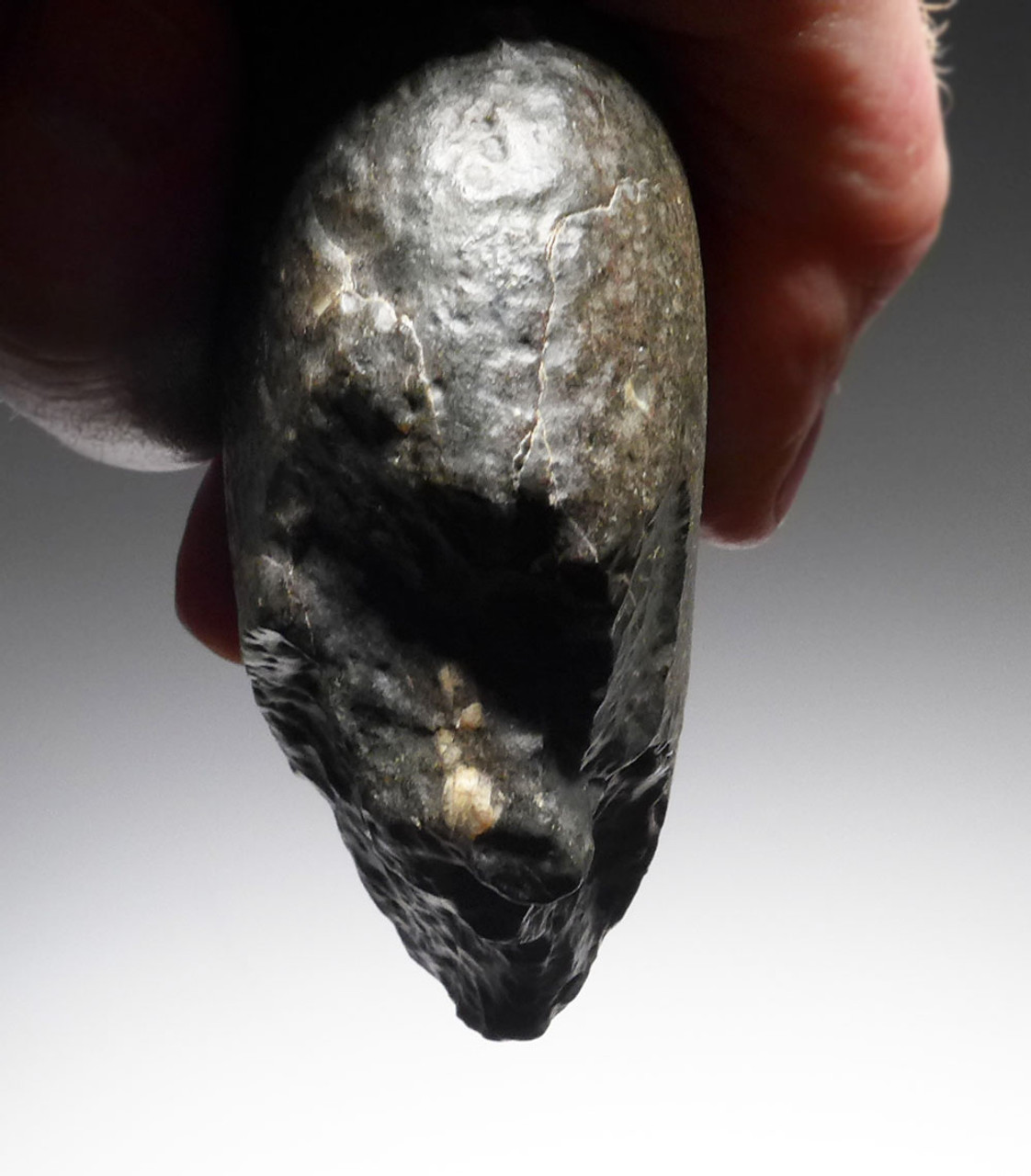 LOWER PALEOLITHIC OLDOWAN PEBBLE CHOPPER AXE MADE OUT OF UNUSUAL GREEN VOLCANIC STONE WITH INCREDIBLE WIND EROSION PATINA *PB131