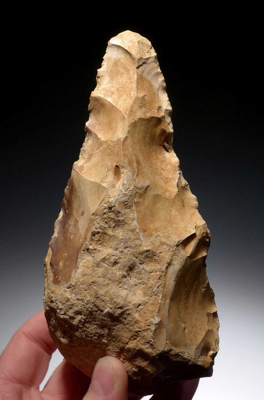 EXTREMELY RARE INVESTMENT-CLASS PRESTIGE ELONGATE BIFACIAL HAND AXE OF THE ACHEULIAN FROM THE ARABIAN DESERT OF JORDAN *ACH248