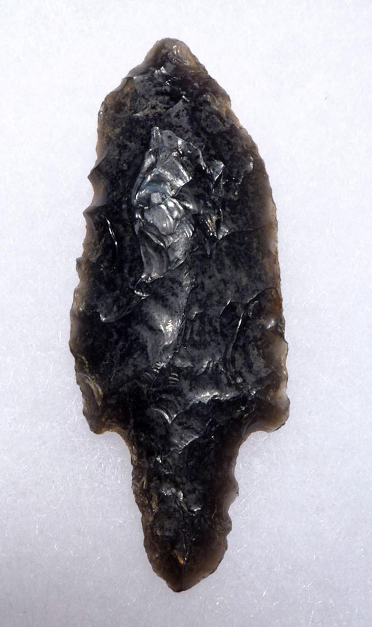 PRE-COLUMBIAN BIFACIAL OBSIDIAN ATLATL HEAD ARROWHEAED WITH FINE FLAKING  FROM THE HEFLIN COLLECTION * PC265