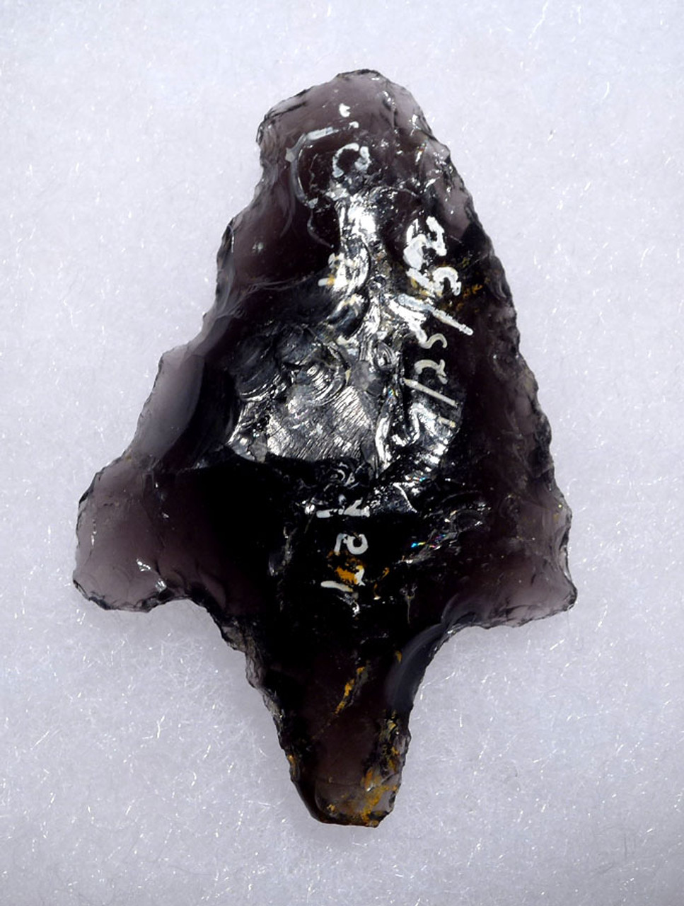 ROBUST AND WELL-MADE PRE-COLUMBIAN BIFACIAL OBSIDIAN ATLATL HEAD ARROWHEAED POINT FROM THE HEFLIN COLLECTION * PC266