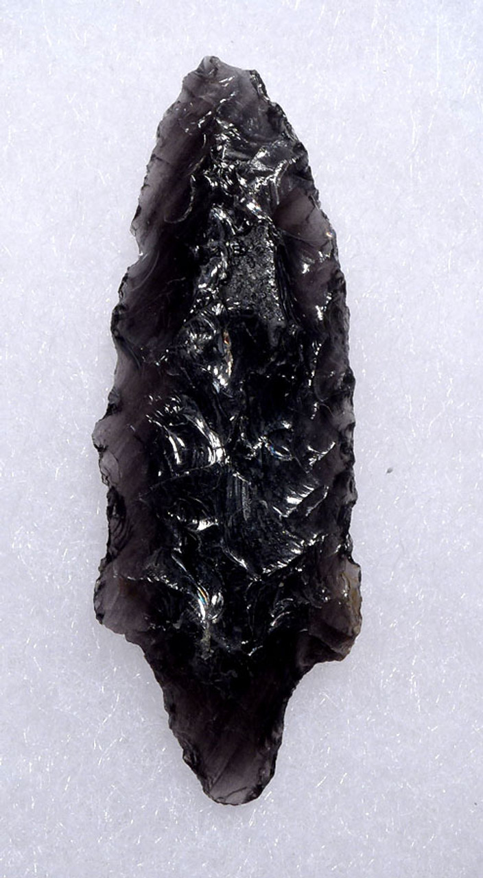 PRE-COLUMBIAN BIFACIAL OBSIDIAN ATLATL SPEARHEAD POINT WITH FINE FLAKING  AND TRANSLUCENCE FROM THE HEFLIN COLLECTION * PC262