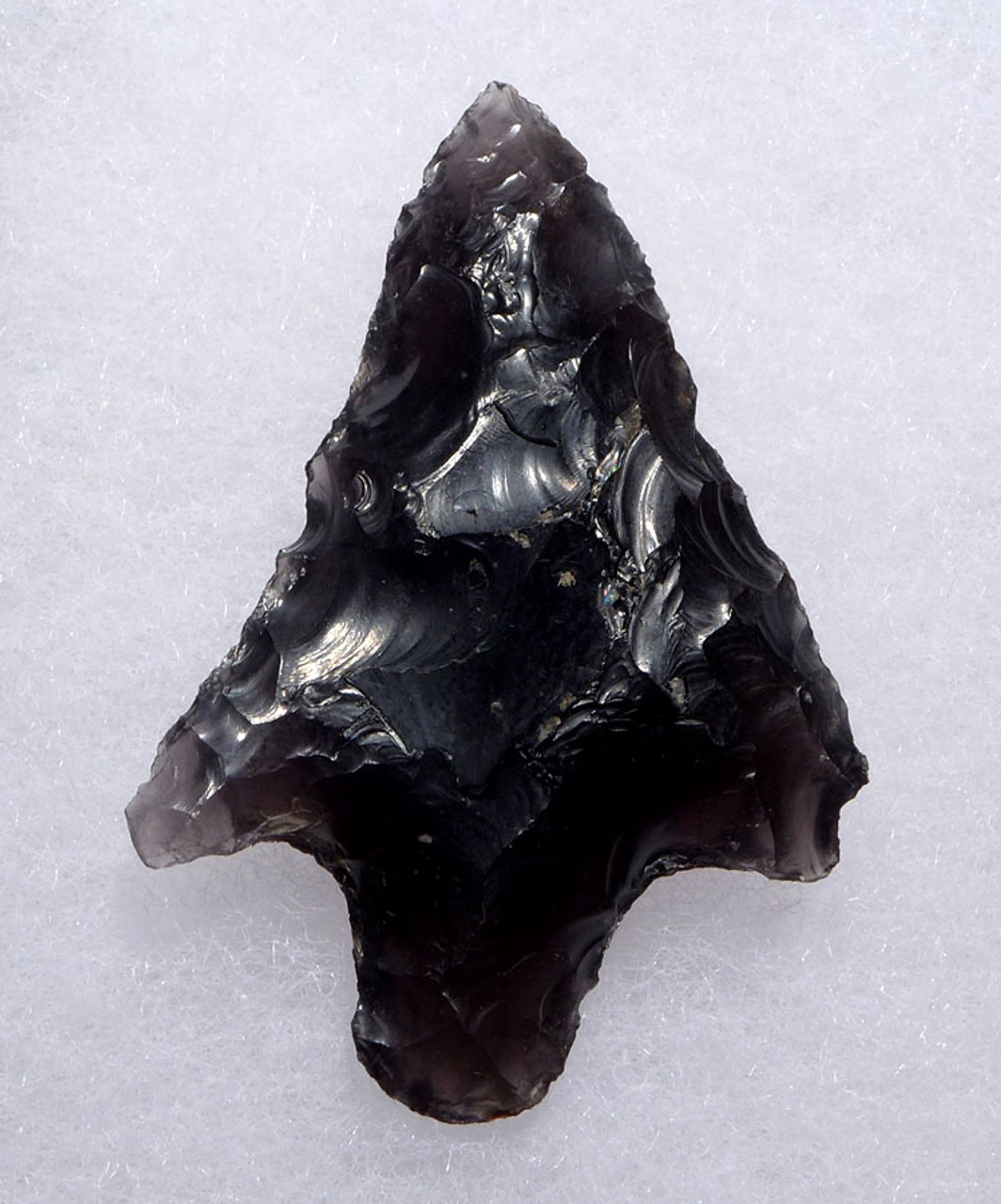 LARGE BARBED PRE-COLUMBIAN BIFACIAL OBSIDIAN ATLATL SPEARPOINT FROM THE HEFLIN COLLECTION * PC264
