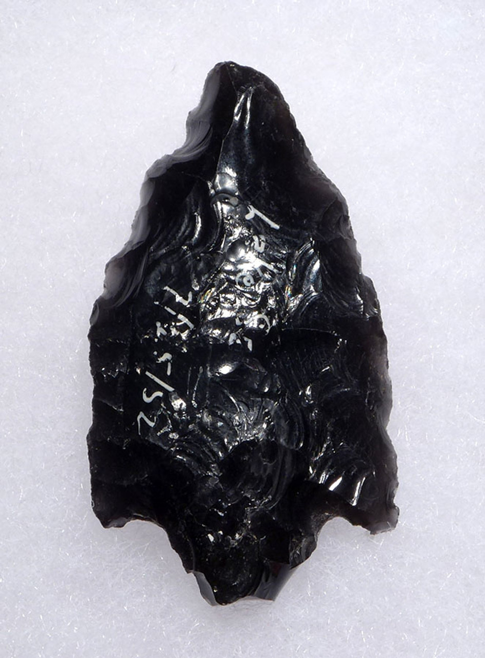 LARGE SUPERB PRE-COLUMBIAN BIFACIAL OBSIDIAN BARBED ATLATL POINT FROM THE HEFLIN COLLECTION * PC268