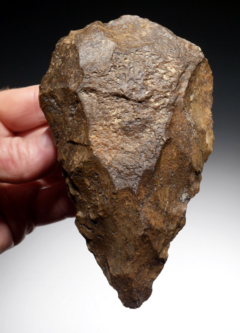 SUPREMELY MADE LOWER PALEOLITHIC AFRICAN HAND AXE OF THE ACHEULIAN MADE OUT OF TABULAR CHERT WITH STUNNING PATINA *ACH269