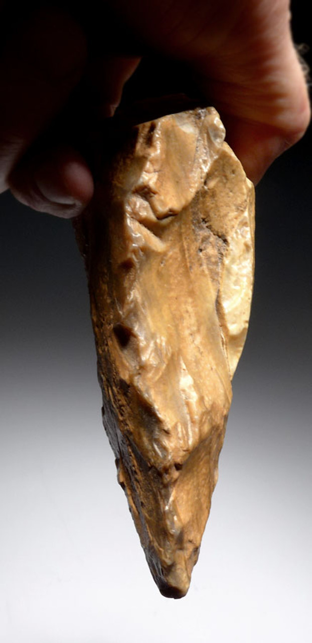GOLDEN TABULAR FLINT ACHEULIAN PICK HAND AXE FROM LOWER STONE AGE AFRICA *ACH255