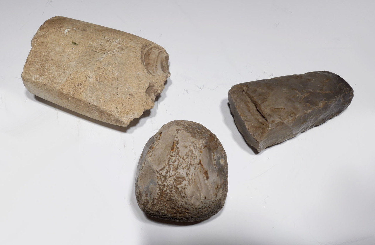 SET OF 3 EUROPEAN NEOLITHIC STONE AXE AND HAMMERSTONE ARTIFACTS FROM GERMANY *N173