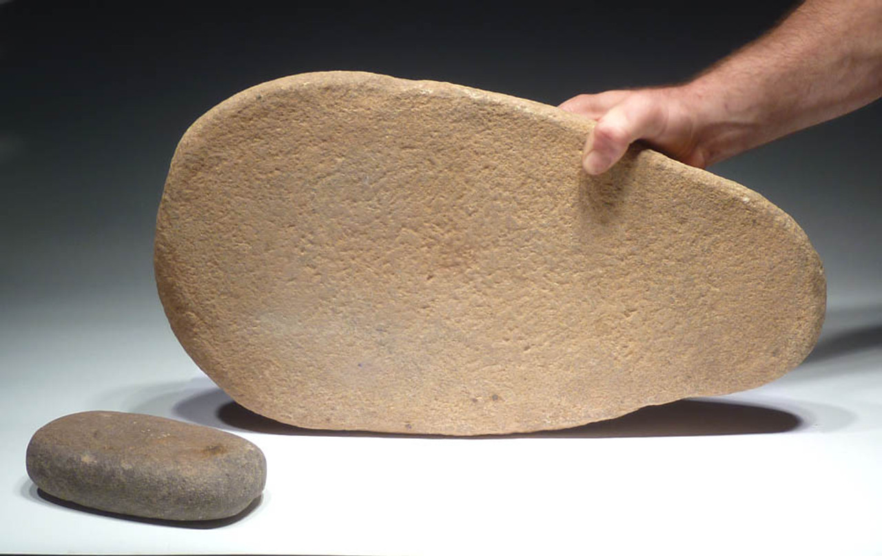 MUSEUM-CLASS LARGE AFRICAN CAPSIAN NEOLITHIC STONE GRINDING MILL AND RUBBING STONE *CAP181