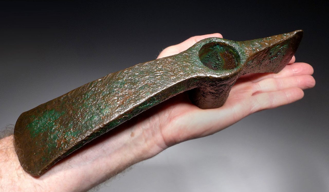 OUR LARGEST EVER ANCIENT BRONZE WAR AXE / ADZE FROM THE NEAR EASTERN LURISTAN CULTURE *NE199