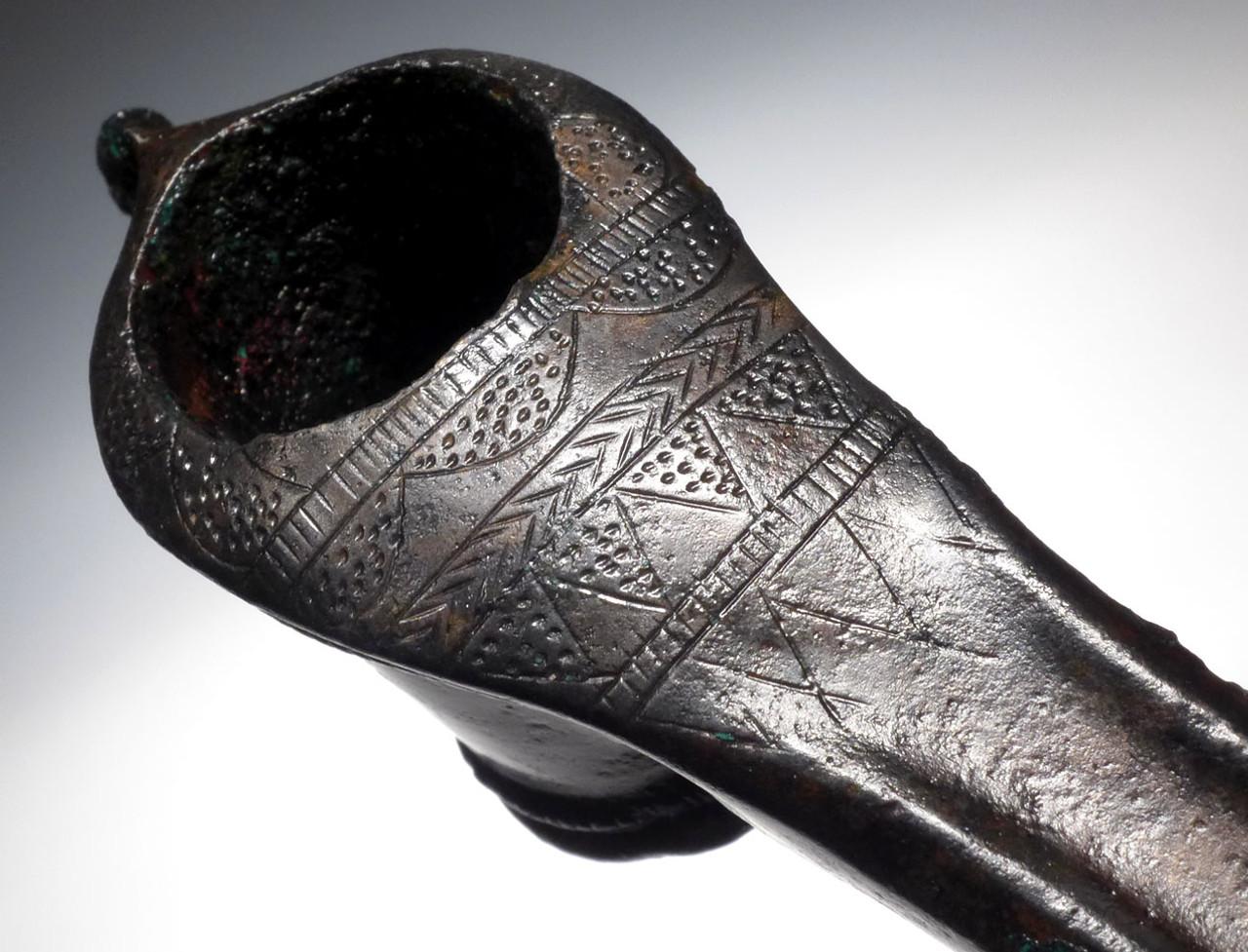 RARE ANCIENT PRESTIGE WEAPON LURISTAN BRONZE DECORATED ADZE AXE *NE201