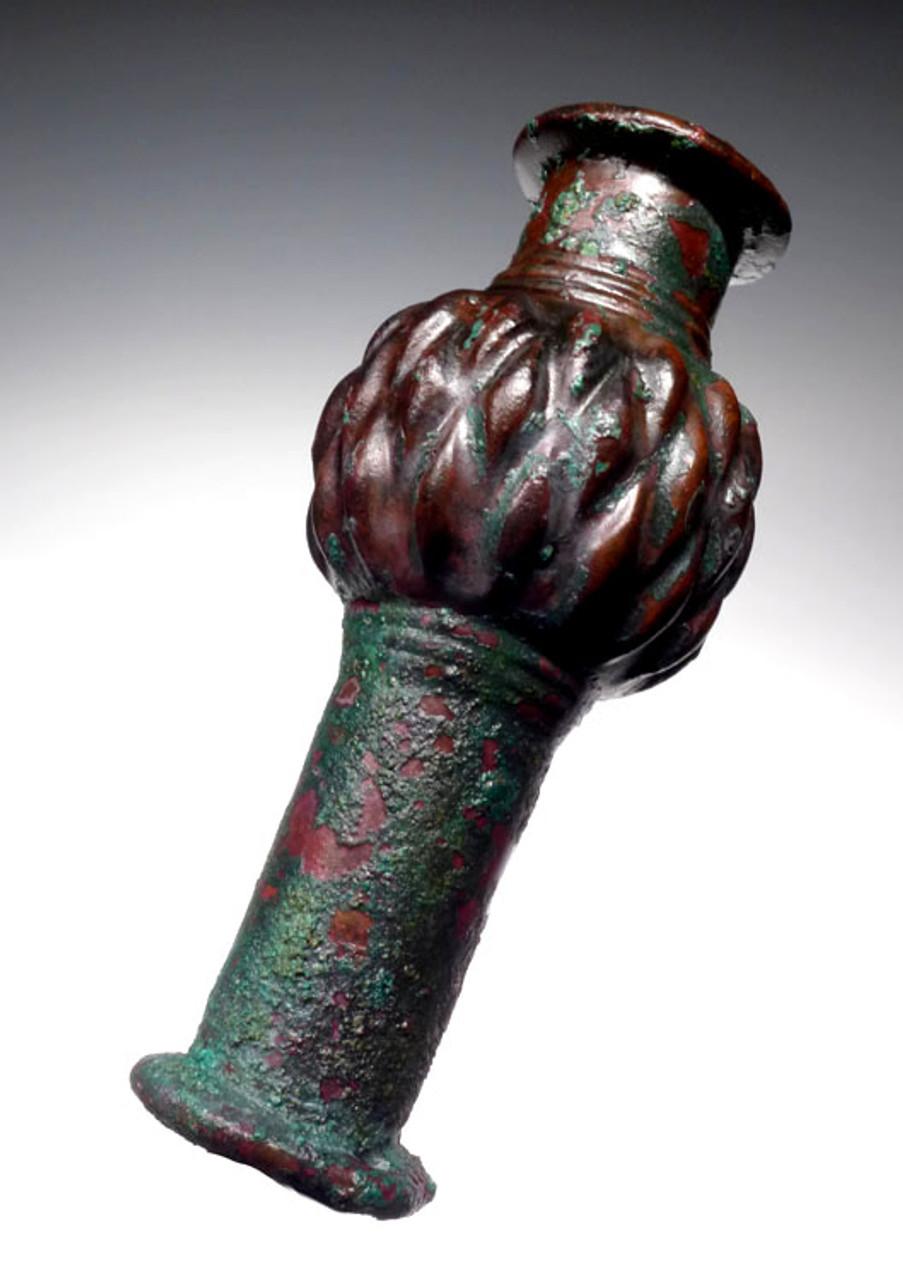 MAGNIFICENT ANCIENT LURISTAN ROYAL BRONZE BATTLE SCEPTER-LIKE LONG SHAFT MACE HEAD *NE153