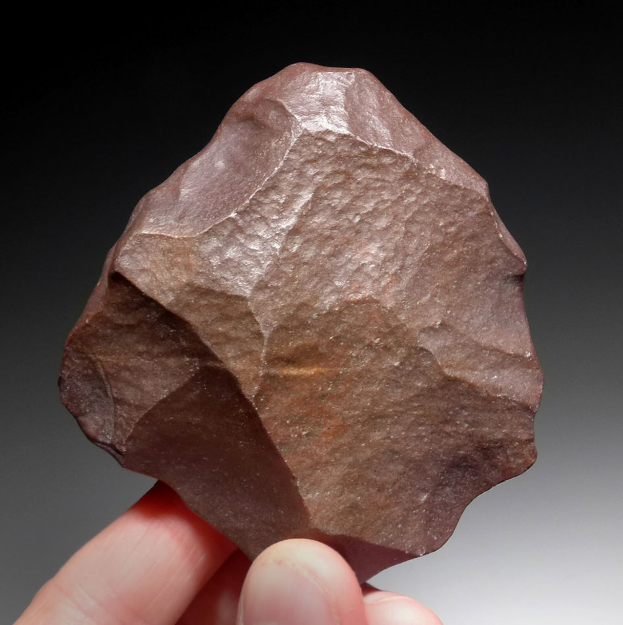DARK BURGUNDY WIND-POLISHED LOWER PALEOLITHIC HAND AXE FROM STONE AGE AFRICA *ACH273