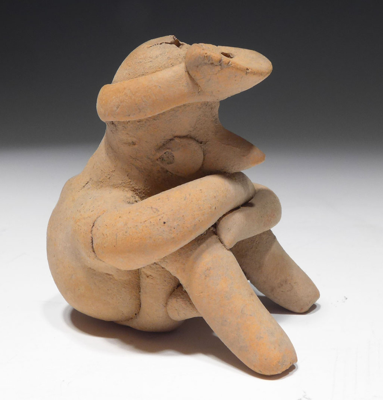 RARE INTACT SEATED WARRIOR PRE-COLUMBIAN CERAMIC FUNCTIONAL WHISTLE FROM THE HEFLIN COLLECTION * PC272