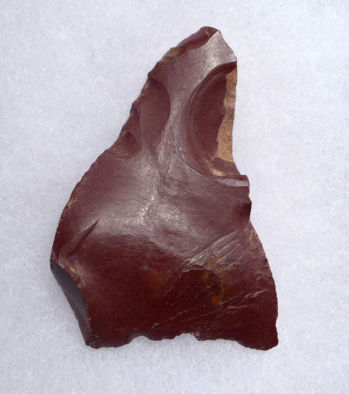 NEANDERTHAL MOUSTERIAN BACKED KNIFE STONE TOOL IN RARE WINE RED JASPER FROM FONTMAURE FRANCE *M405