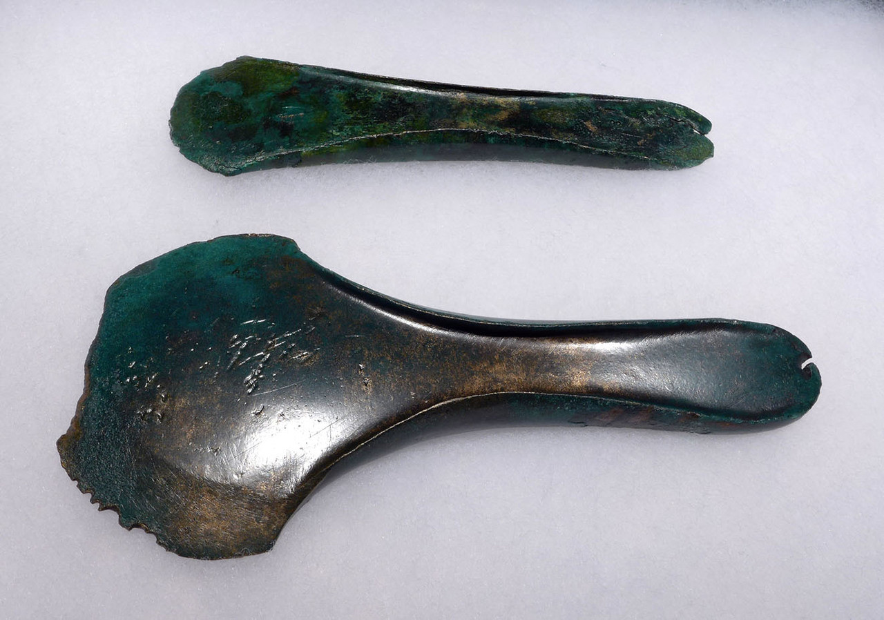 PAIR OF EARLY ANCIENT CELTIC BRONZE CAST WAR AXES WITH EVIDENCE OF USE *CEL006