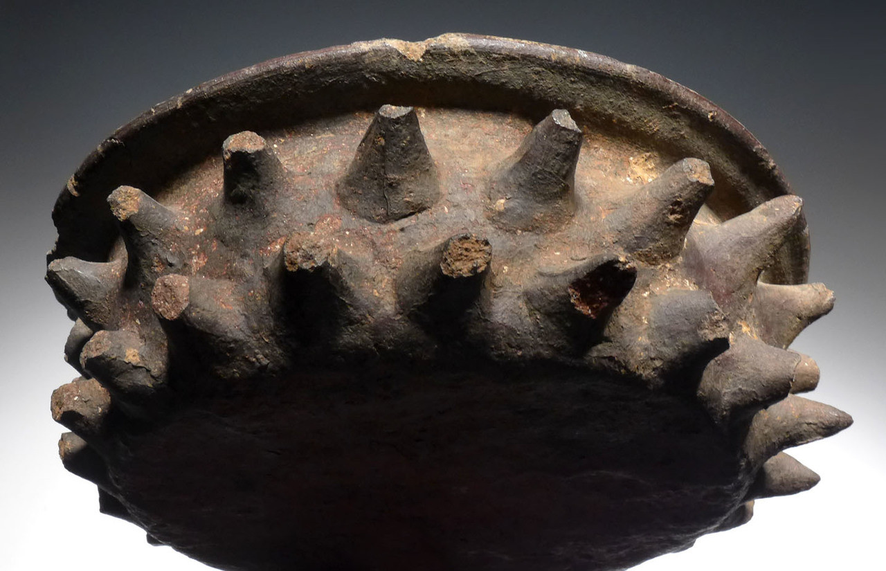 UNBROKEN LARGE MAYAN SPIKED RITUAL BOWL CERAMIC WITH CEIBA TREE THORN DESIGN *PC280
