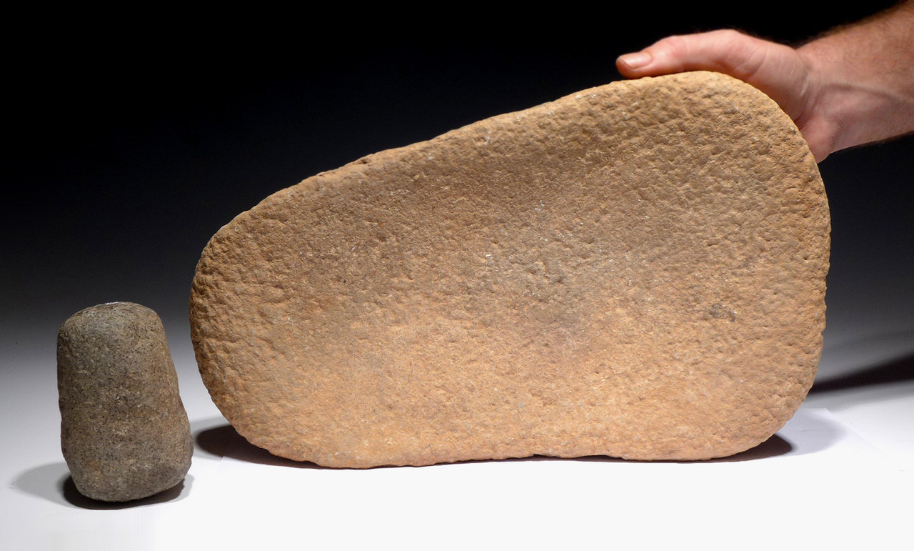 MUSEUM-CLASS LARGE AFRICAN CAPSIAN NEOLITHIC STONE GRINDING MILL AND RUBBING STONE *CAP215
