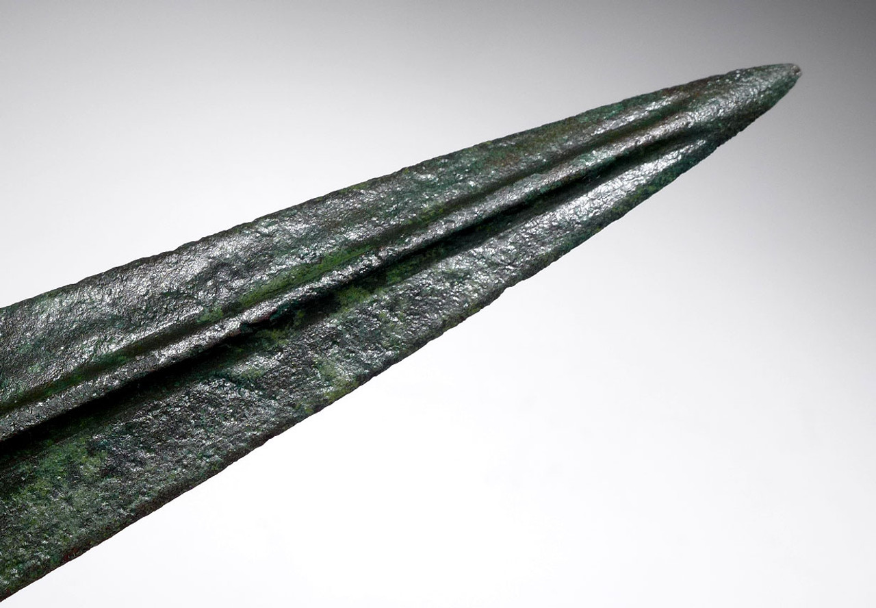 LARGE SUPERB ANCIENT LURISTAN BRONZE SPEAR LANCE HEAD WITH LONG TANG *LUR128
