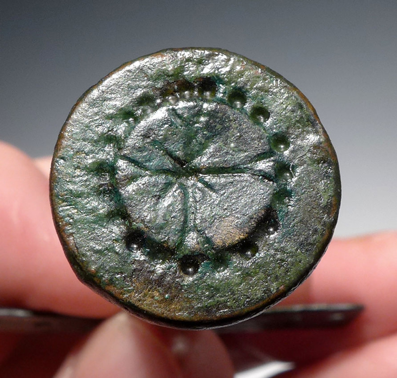 BRONZE ANCIENT BYZANTINE ROMAN CROSS STAMP SEAL *R205