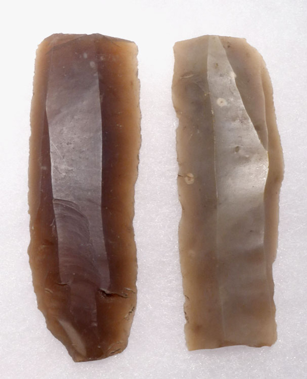PAIR OF LONG FLINT DANISH NEOLITHIC STONE KNIFE BLADES *N165
