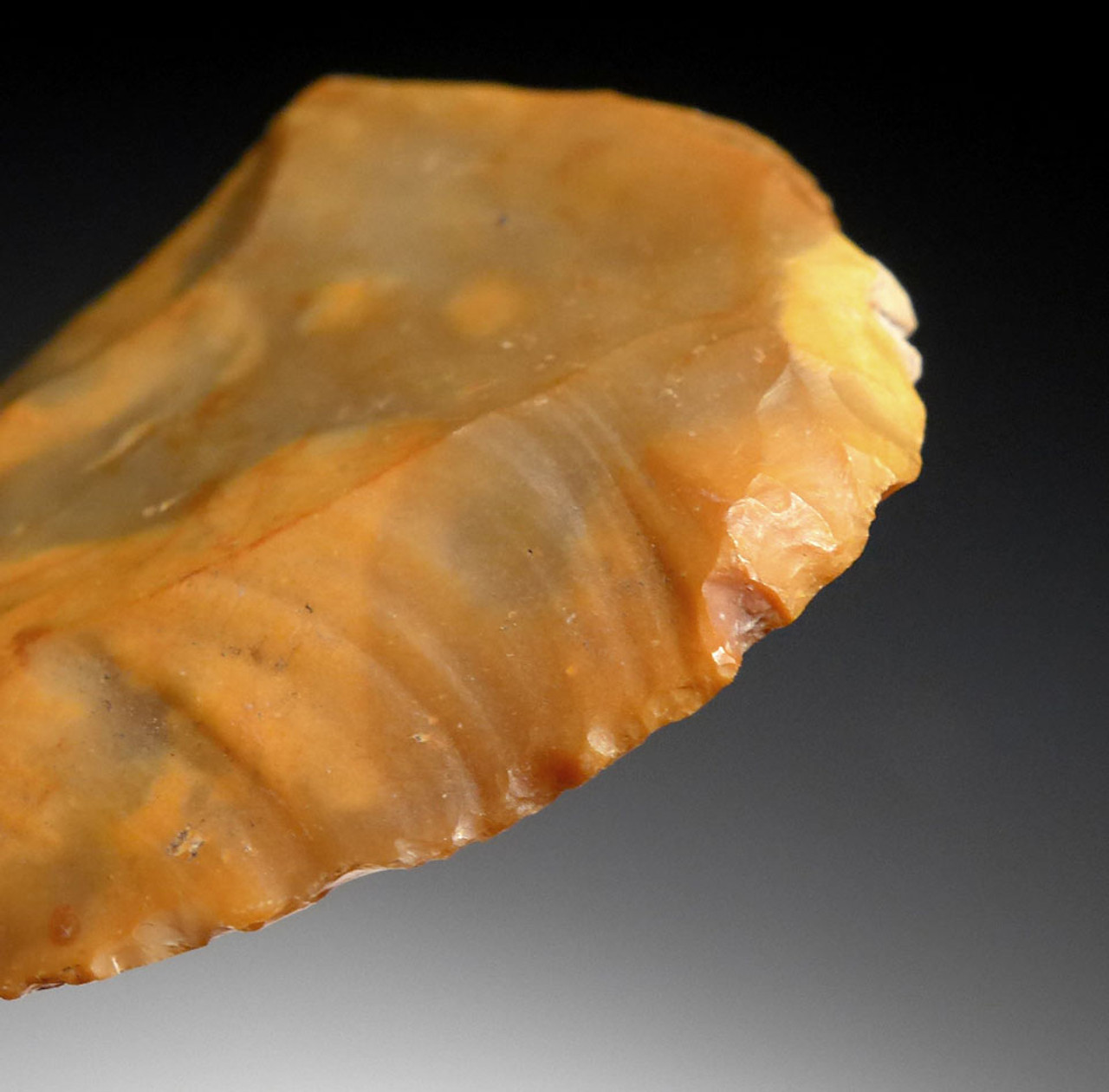 COLORFUL GOLD FLINT NEOLITHIC FLAKE END SCRAPER FROM THE FUNNEL-NECKED BEAKER CULTURE OF DENMARK *N175