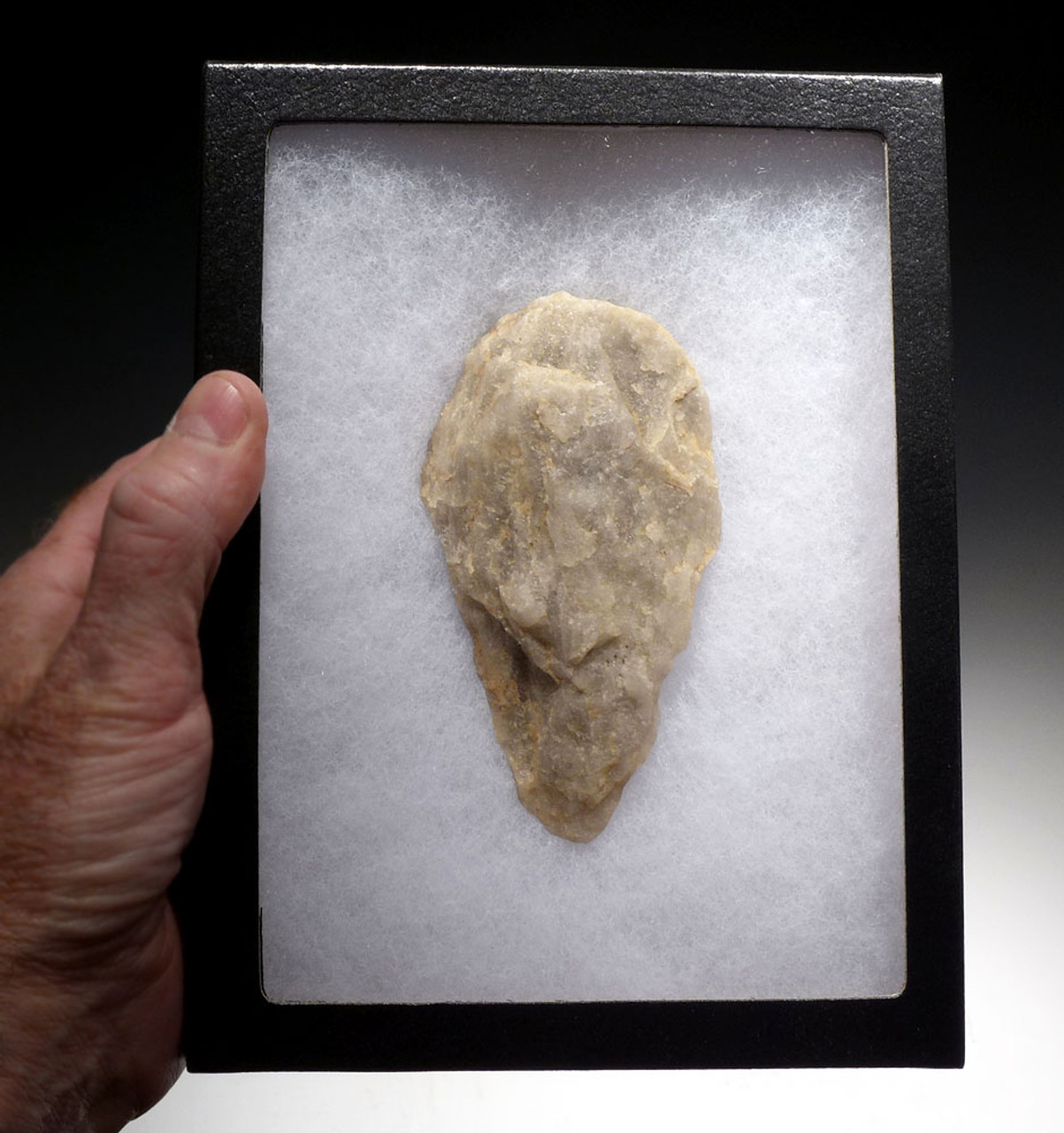 MUSEUM-CLASS ACHEULEAN PRESTIGE HAND AXE IN SPARKLING QUARTZ CRYSTAL FROM REGION OF HUMAN ORIGINS *ACH275