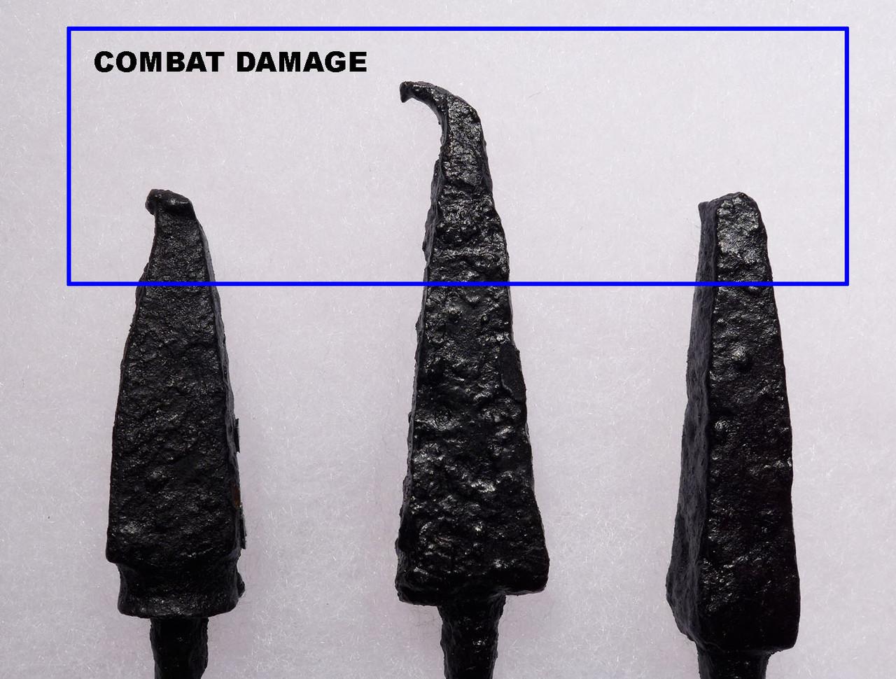 BATTLE DAMAGE ANCIENT ROMAN ARROWHEADS