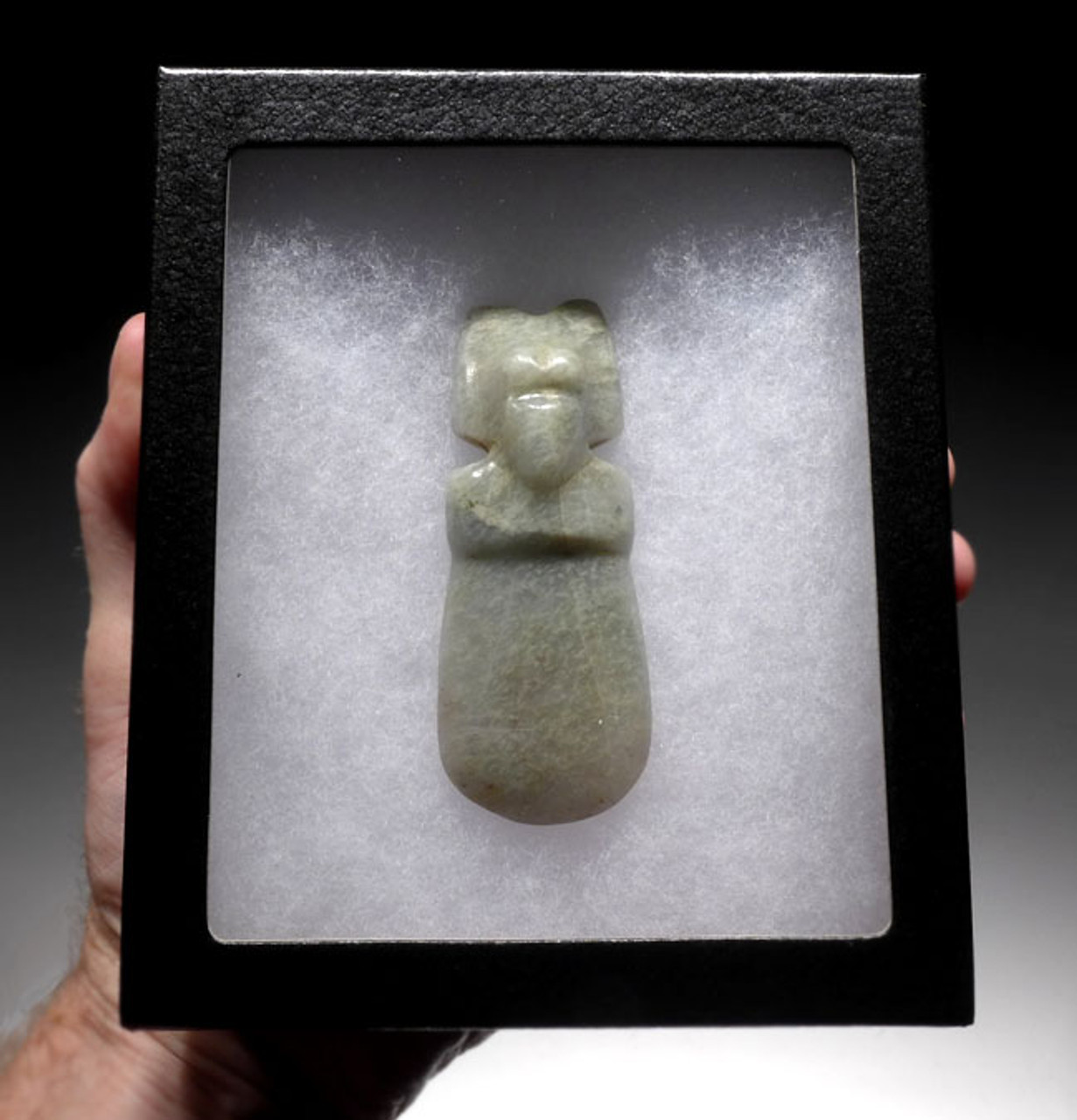 PRE-COLUMBIAN MINT GREEN TRANSLUCENT JADE WEARABLE BIRD-DEITY PENDANT *PC116