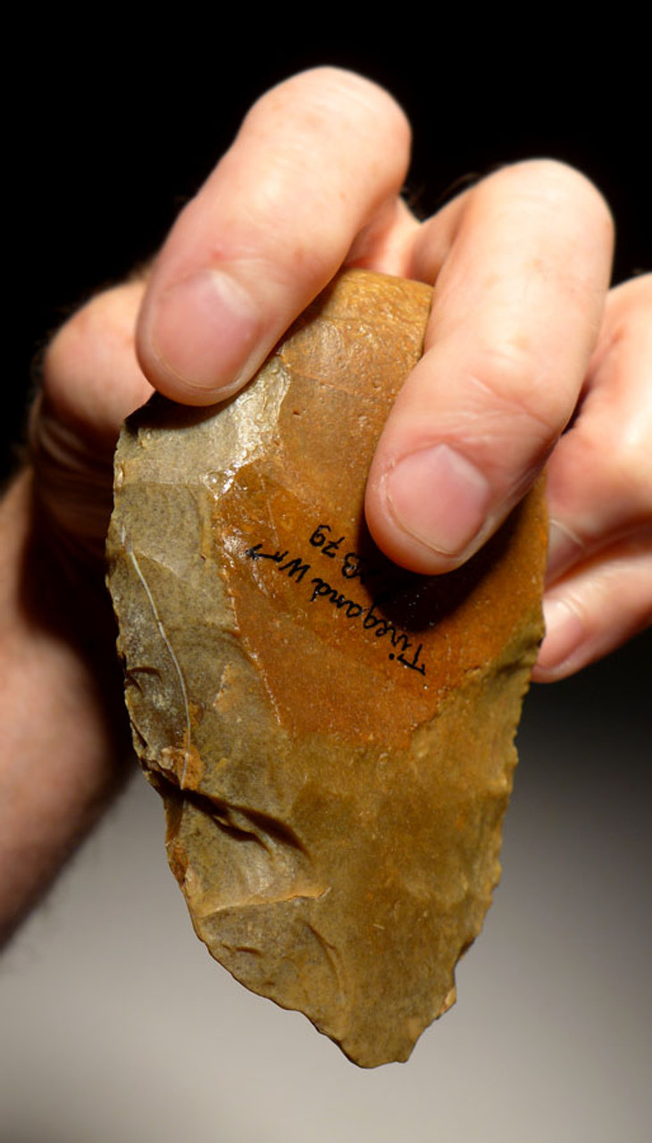 PREHISTORIC HOMO ERECTUS MASTERPIECE ACHEULEAN FLINT HAND AXE WITH INGENIOUS GRIP FROM FRANCE  *ACH220