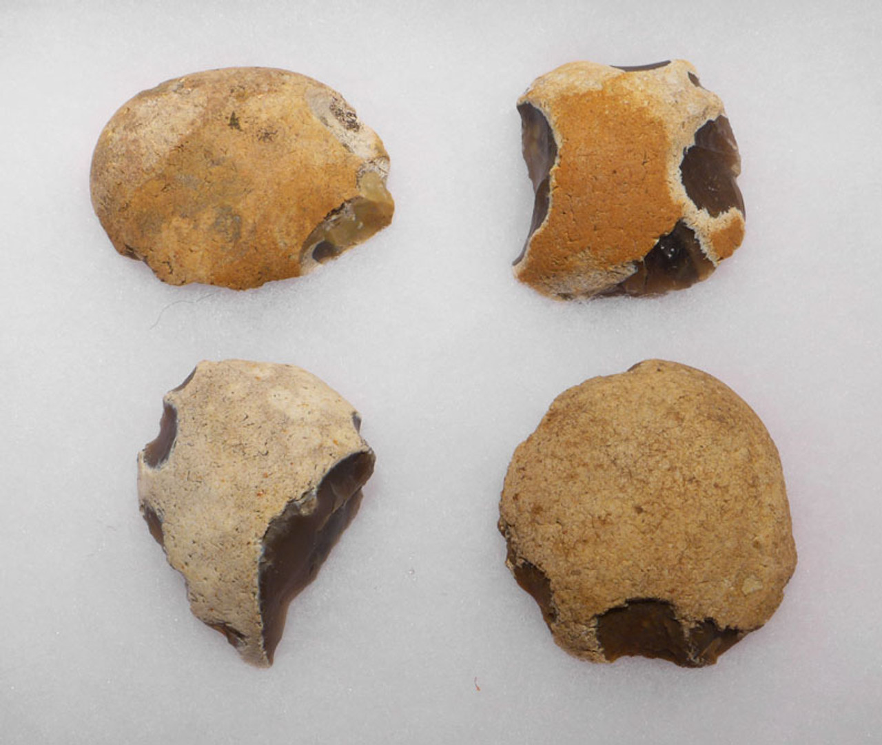SET OF FOUR OLDOWAN PEBBLE TOOL SCRAPERS FROM THE LOWER PALEOLITHIC PERIOD OF ENGLAND *PB121