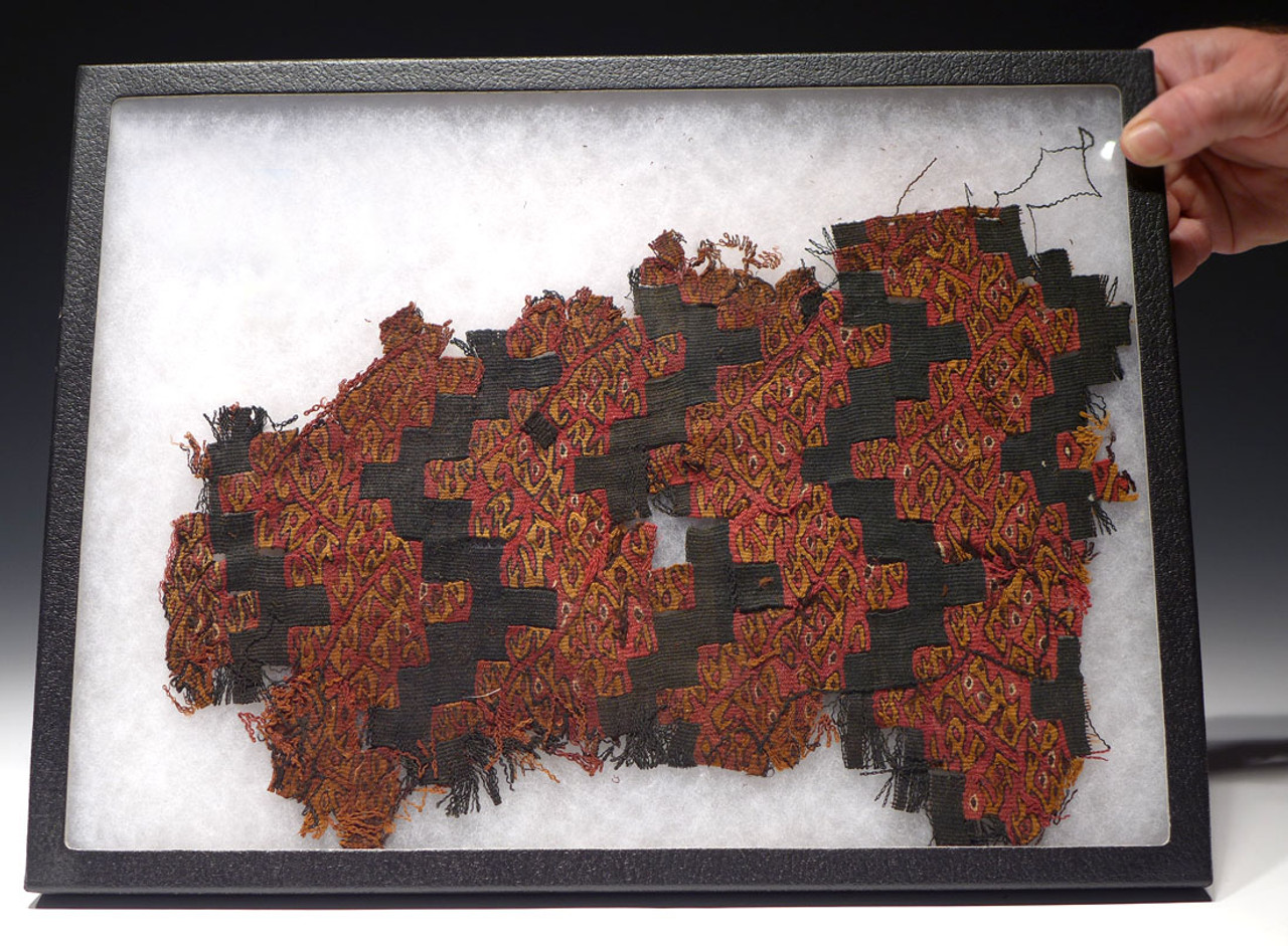 RARE PRE-COLUMBIAN WARI HUARI TEXTILE WITH BIZARRE EYES IN ROOTS PATTERN *PCT011