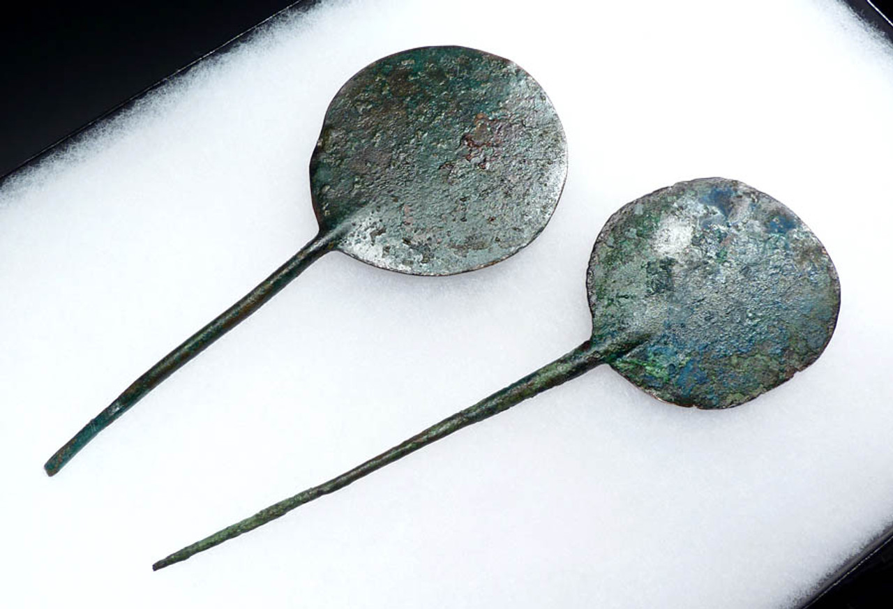 SET 2 LARGE ANCIENT BRONZE MIRROR PINS FROM THE LURISTAN NEAR EASTERN BRONZE CULTURE *NE047