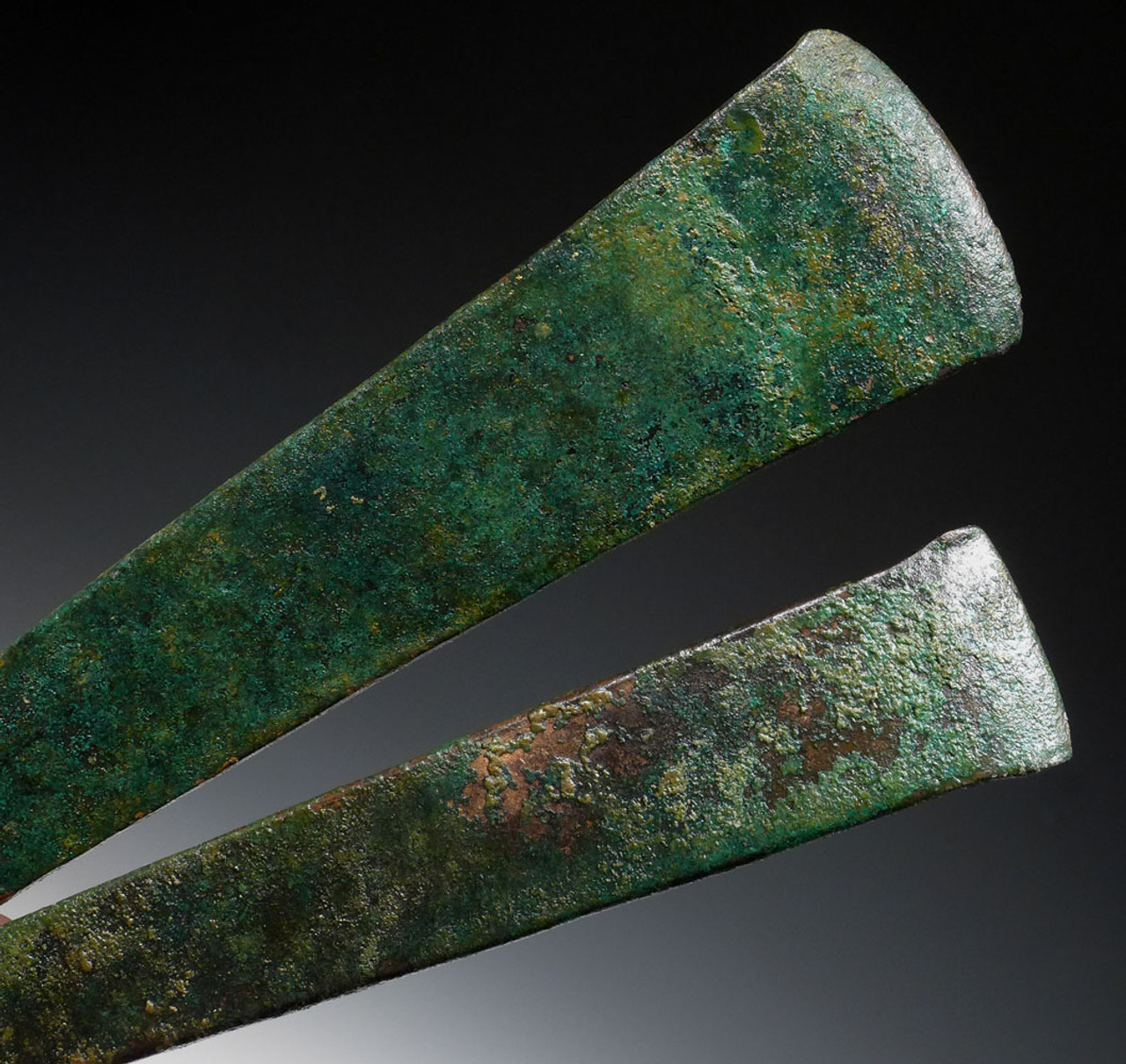 TWO ANCIENT BRONZE CHISEL ADZE AXE BLADES OF THE NEAR EASTERN LURISTAN BRONZE AGE CULTURE *NEPC008
