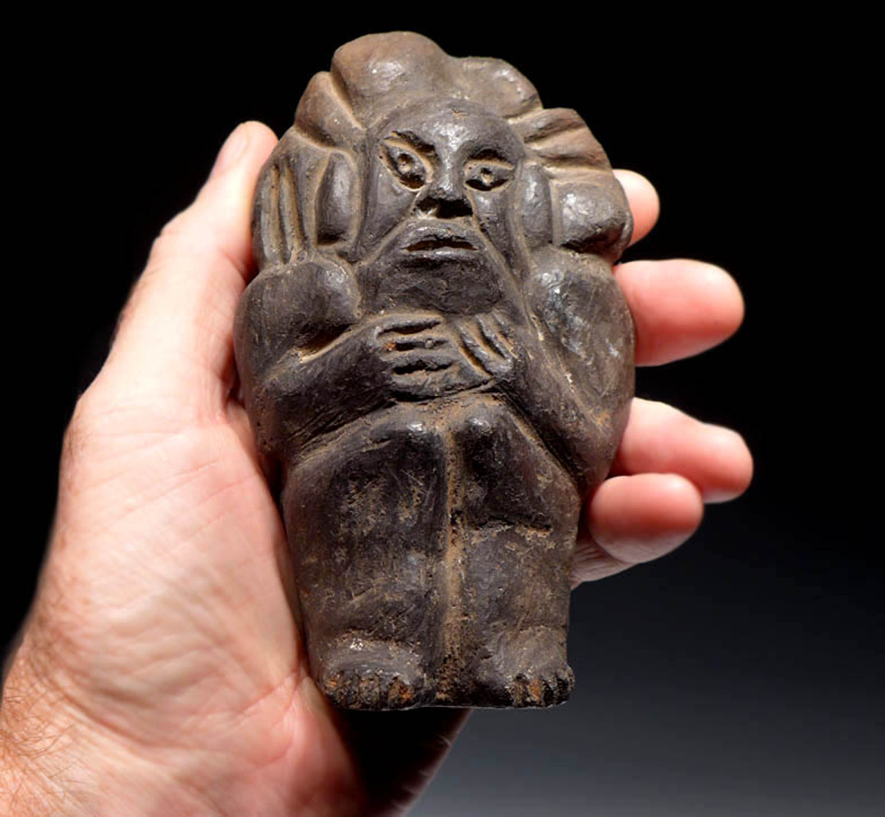 MAYAN PRE-COLUMBIAN SOLID CLAY FIGURE WITH EXCEPTIONAL PRESERVATION *PC082
