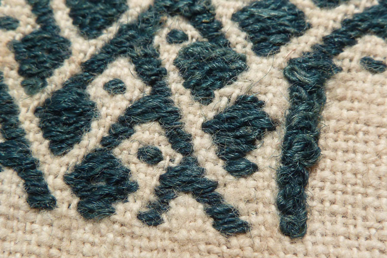 CHIMU CULTURE PRE-COLUMBIAN TEXTILE FROM SOUTH AMERICA WITH UNFINISHED EMBROIDERED DESIGN IN RARE BLUE DYE *PC037