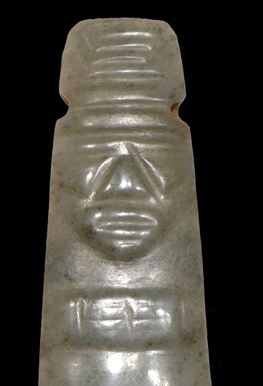 PRE-COLUMBIAN MOTTLED MINT GREEN JADE AXE-GOD PENDANT FROM CENTRAL AMERICA *PC213