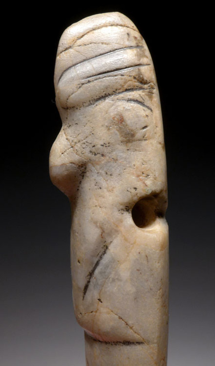 BIRD HEAD WHITE JADE PRE-COLUMBIAN AXE GOD PENDANT FROM CENTRAL AMERICA *PC111