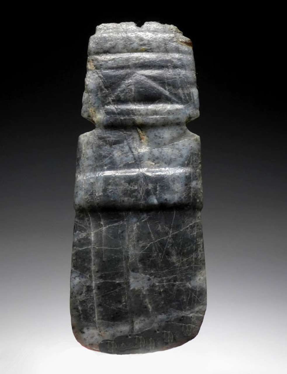 BLUE AND WHITE CARVED JADE PRE-COLUMBIAN AXE GOD PENDANT *PC120