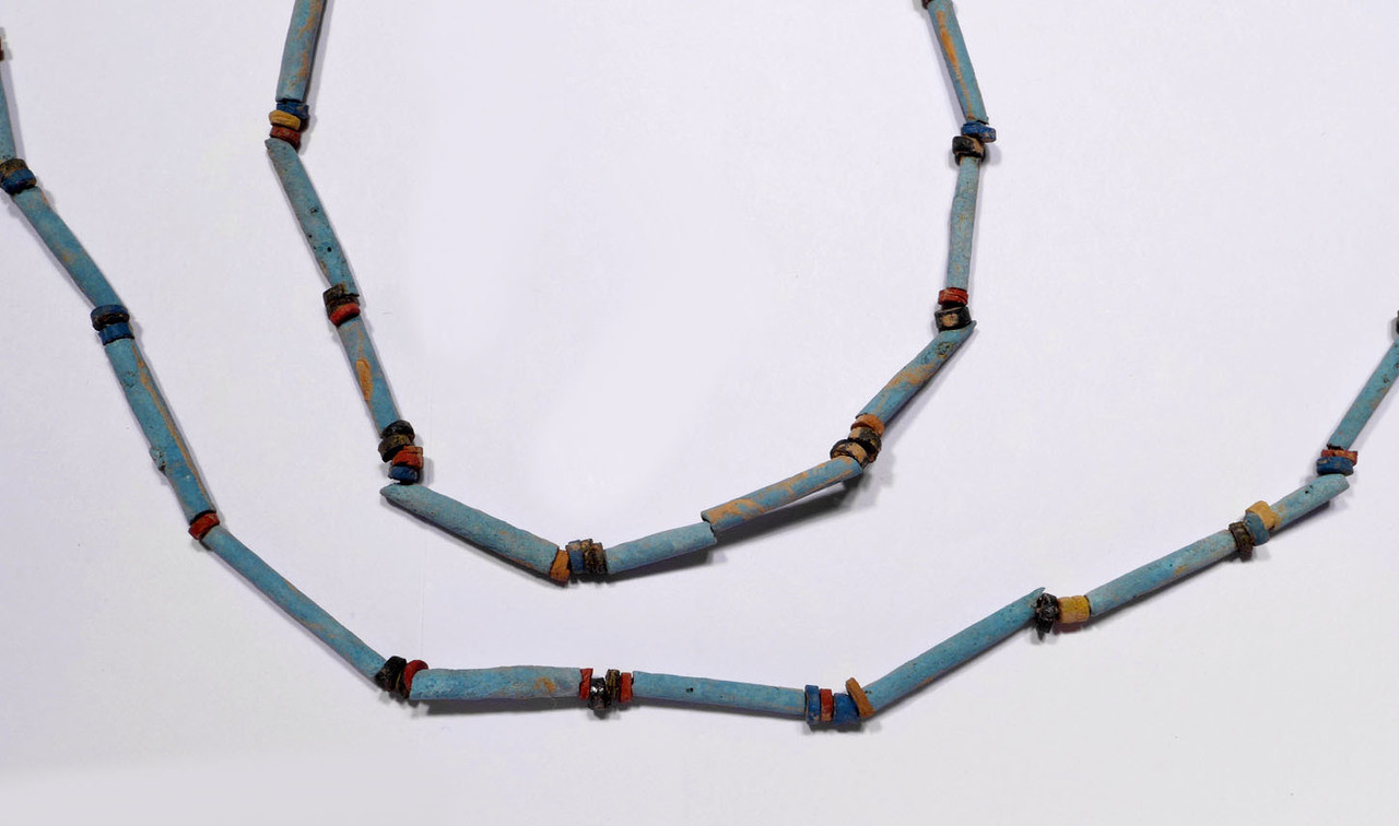 "SUPERB 40"" WEARABLE AUTHENTIC ANCIENT EGYPTIAN ""MUMMY BEAD"" FAIENCE, STONE AND CLAY BEAD NECKLACE *NE165"