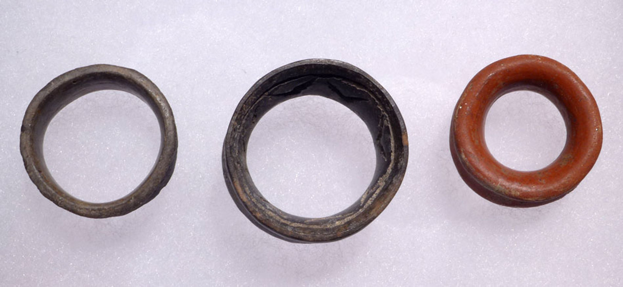 SUPERB SET OF 3 UNBROKEN PRE-COLUMBIAN EAR SPOOLS FROM CENTRAL AMERICA *PC127