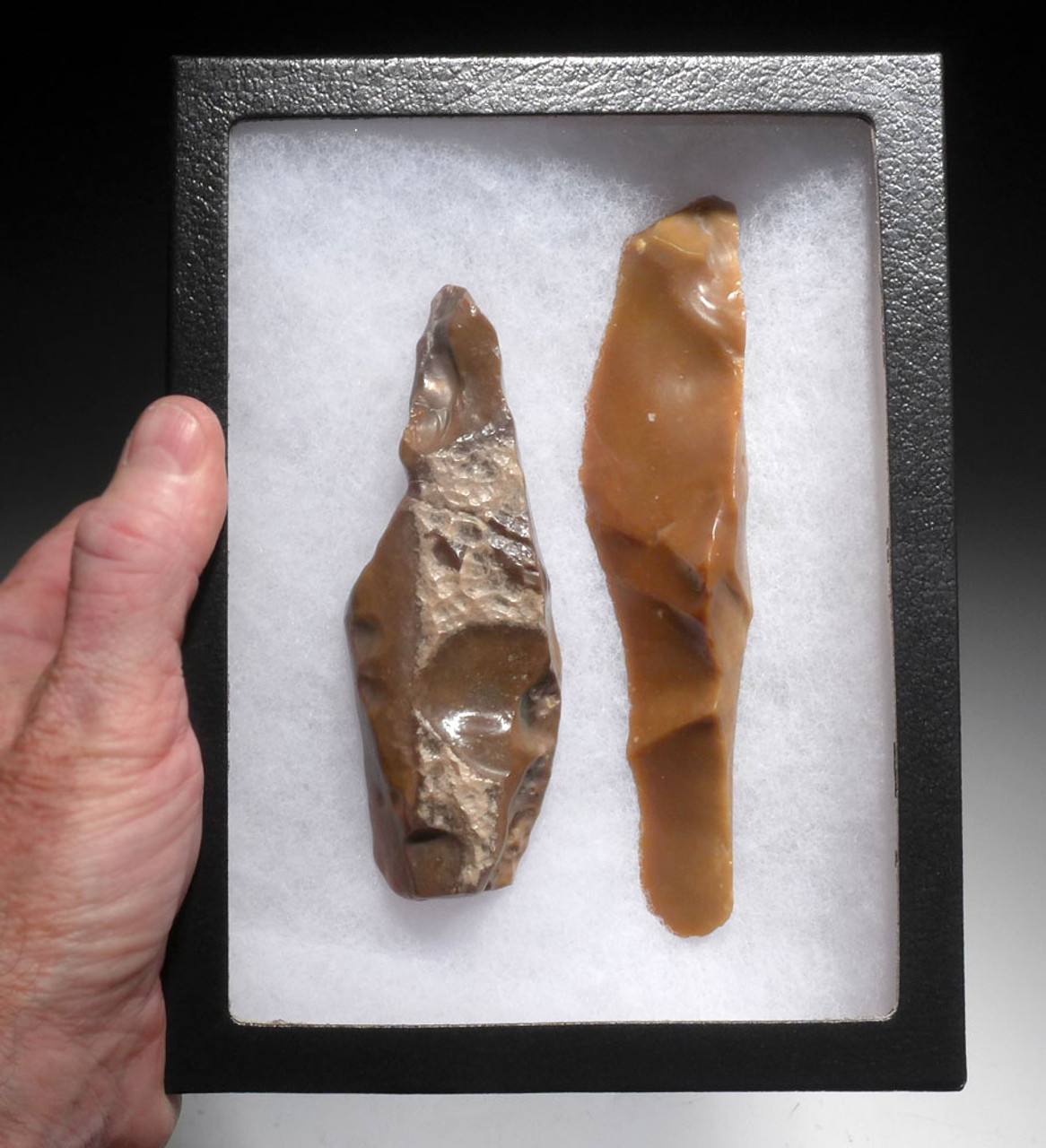 LARGE AFRICAN CAPSIAN NEOLITHIC KNIFE AND BORER FLAKE STONE TOOLS *CAP217