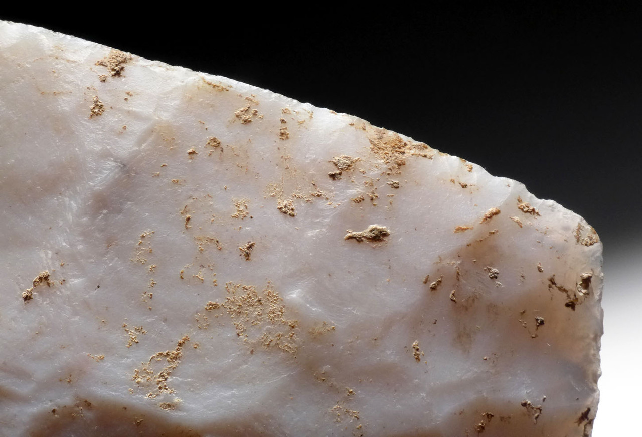 MUSEUM-CLASS UNBROKEN AZTEC PRE-COLUMBIAN SACRIFICAL BIFACIAL DAGGER IN RARE WHITE CHERT *PC287