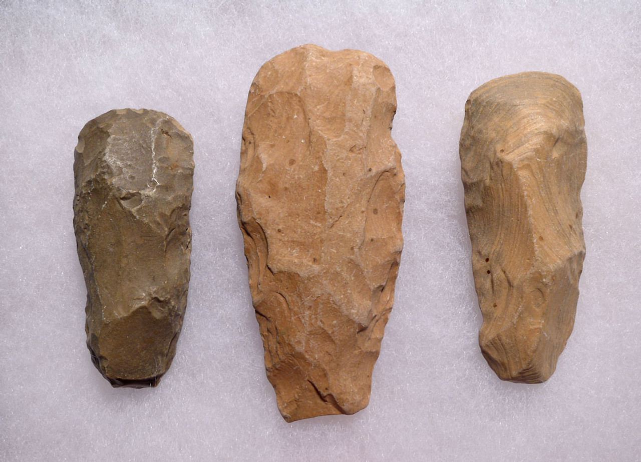 SET OF THREE CAPSIAN AFRICAN NEOLITHIC STONE CELT AXES *CAP211