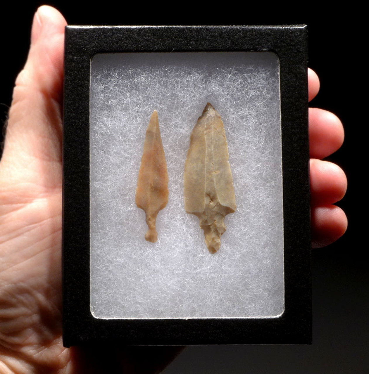 TWO LARGE PREMIUM UNIFACIAL AFRICAN CAPSIAN NEOLITHIC ARROWHEADS *CAP204