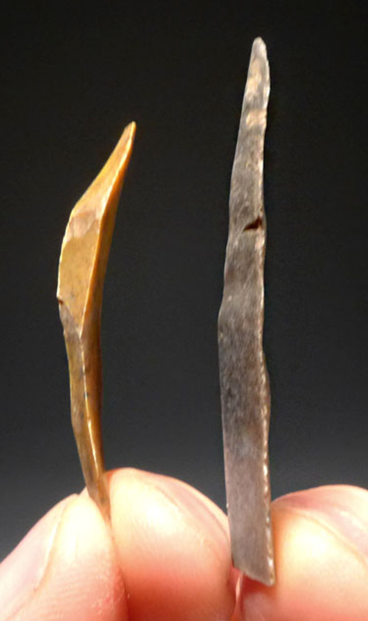 TWO RARE FLAKE TOOLS FROM FAMOUS CAVE ART SITE IN FRANCE GROTTE DU PLACARD *UP011