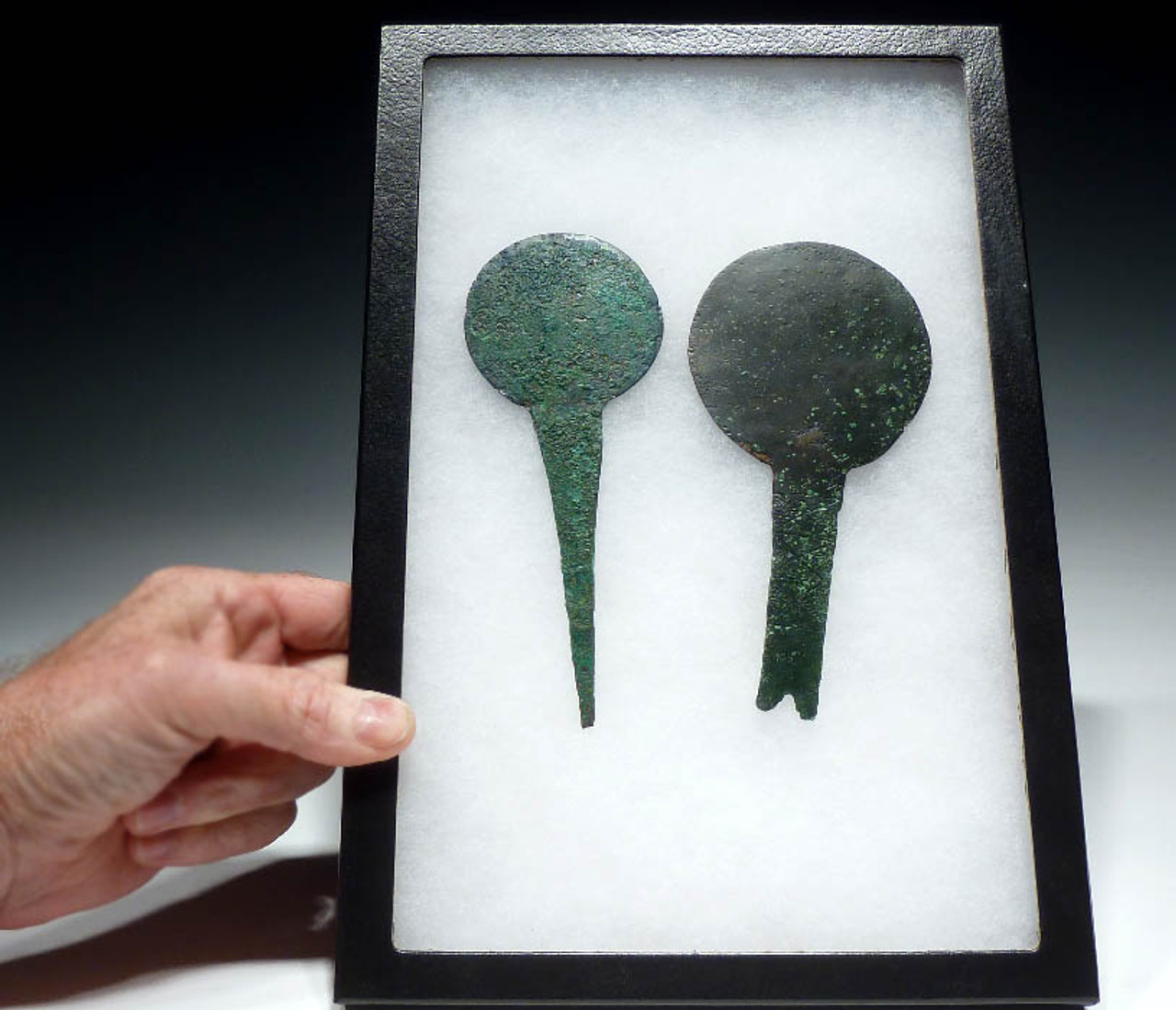 TWO UNBROKEN ANCIENT LURISTAN BRONZE MIRRORS *NE062