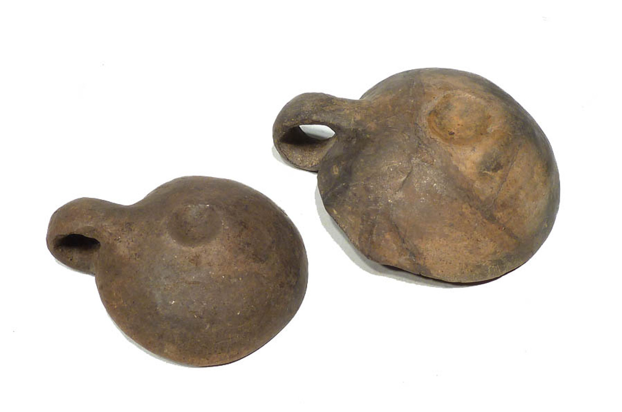 RARE PAIR OF BLACK GLAZE LUSATIAN URNFIELD BRONZE AGE CERAMIC SERVING DIPPERS *UP004