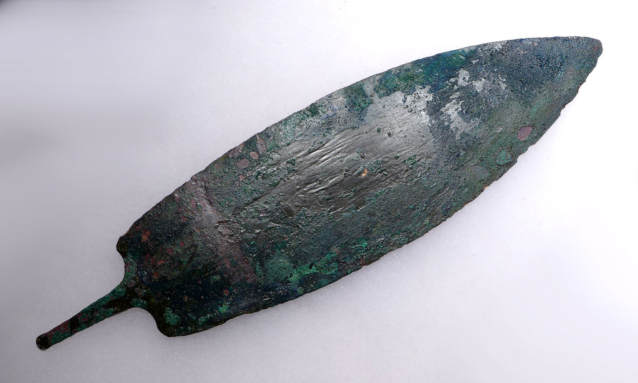 LARGE ANCIENT LURISTAN DAGGER MADE OF SHEET BRONZE WITH TRACES OF ORIGINAL HANDLE *LUR107