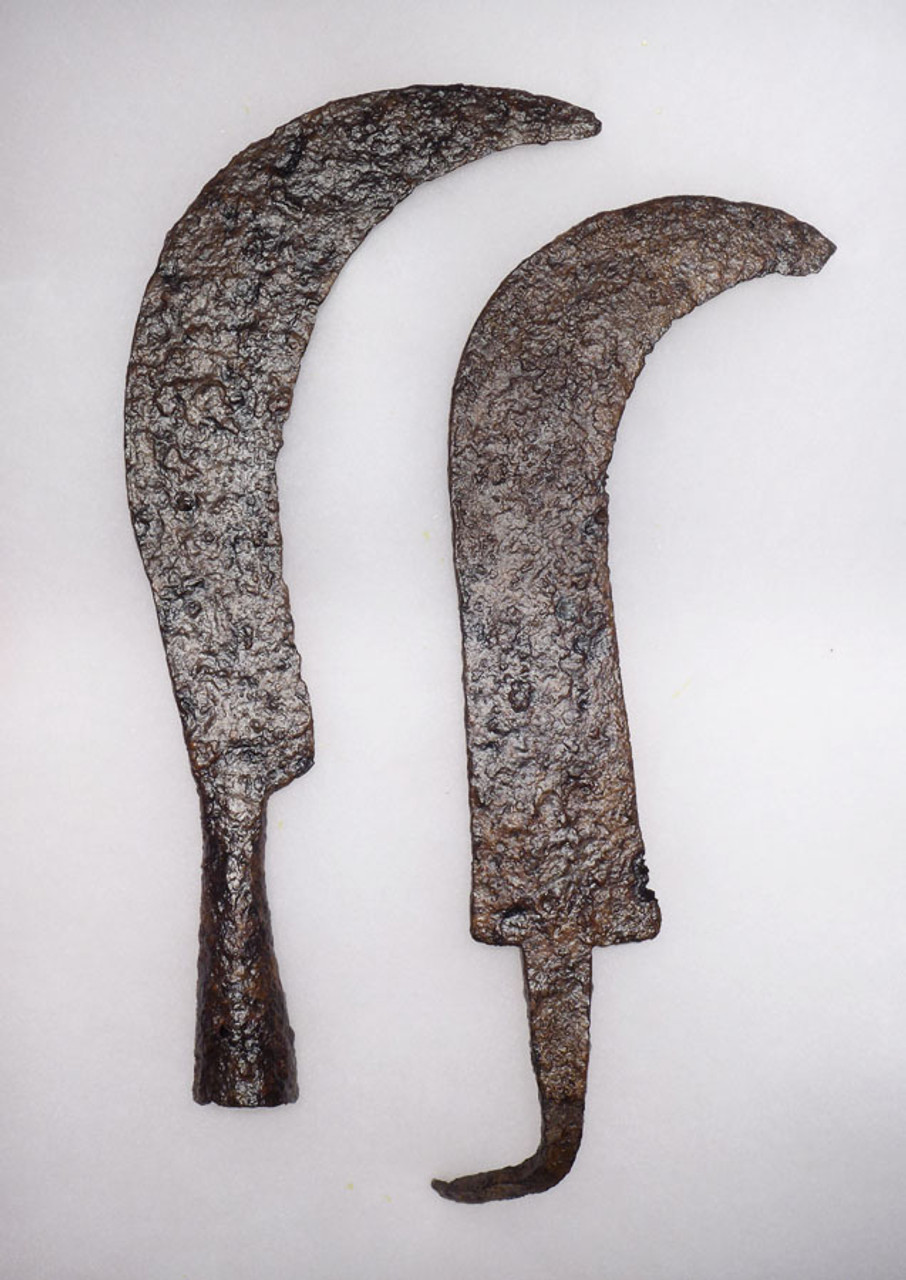TWO LARGE IRON ROMAN BYZANTINE SICKLES FOUND ON ANCIENT BATTLEFIELD *R132