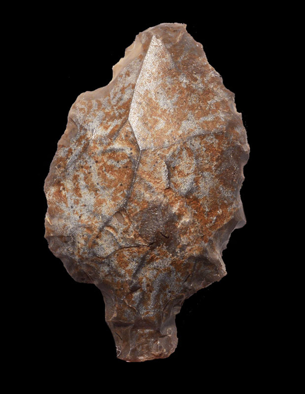 FIRST ARROWHEAD LARGE ATERIAN MIDDLE PALEOLITHIC TANGED POINT WITH COLORFUL MOTTLING *AT087